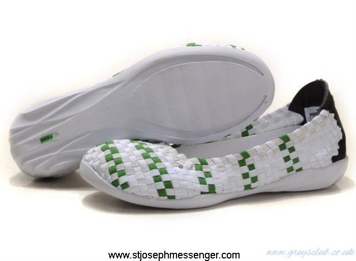 Attractive Design Green Weave Shoes Selections White Puma ADRSUY5679