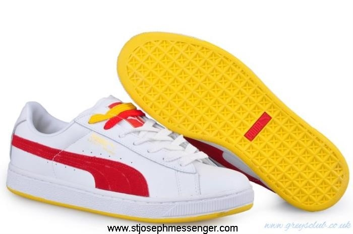 Clearance Sales Puma Men\s Basket White II sneakers Finding Red ADIKQSZ124